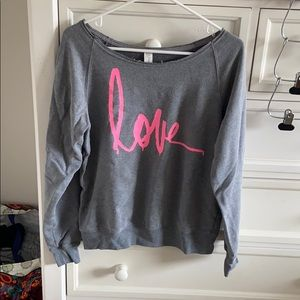 """Forever 21 Grey and Pink """"Love"""" Sweatshirt"""